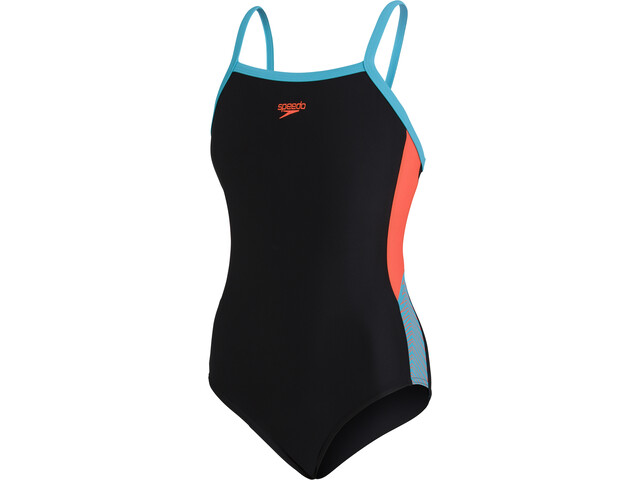 speedo Dive Thinstrap Muscleback Swimsuit Girls black/hypersonic blue